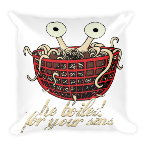 Flying Spaghetti Square Pillow